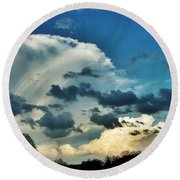 Cloud Filled Sky  Round Beach Towel