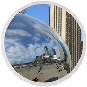 Round Beach Towel featuring the photograph Cloud Gate Reflections by Kristin Elmquist