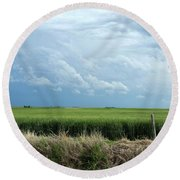 Cloud Gathering Round Beach Towel