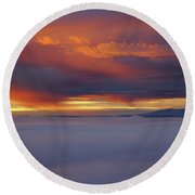 Cloud Layer Sunrise At Dead Horse Point State Park Round Beach Towel