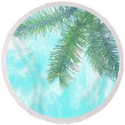 Round Beach Towel featuring the photograph Cloud-marbled Sky by Cindy Garber Iverson