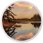 Cloud On Cranberry Lake Round Beach Towel
