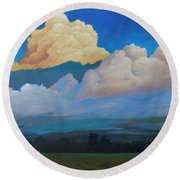 Round Beach Towel featuring the painting Cloud On The Rise by Gary Coleman