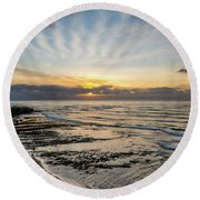 Cloud Rays Vertical Round Beach Towel