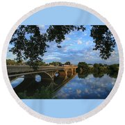Round Beach Towel featuring the photograph Cloud Reflections On The Yakima River by Lynn Hopwood