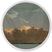 Round Beach Towel featuring the painting Cloud Study. Distant Storm by Simon Denis