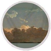 Cloud Study. Distant Storm Round Beach Towel by Simon Denis