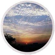 Cloud Swirl At Sunrise Round Beach Towel