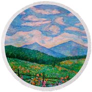 Cloud Swirl Over The Peaks Of Otter Round Beach Towel