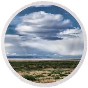Cloud Traveling Over Open Ground Round Beach Towel