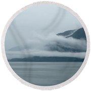 Cloud-wreathed Coastline Inside Passage Alaska Round Beach Towel