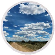 Clouddom Road Round Beach Towel