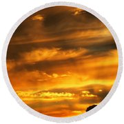 Clouded Sunset Round Beach Towel by Kyle West
