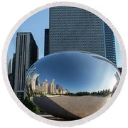 Cloudgate Reflects Round Beach Towel
