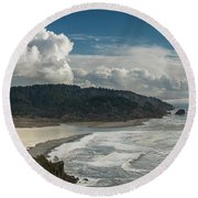 Clouds Above Coast Pano Round Beach Towel by Greg Nyquist
