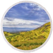 Clouds Above Temblor Range Round Beach Towel by Marc Crumpler