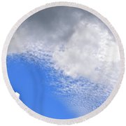 Round Beach Towel featuring the photograph Clouds And Blue Skies by Tara Potts