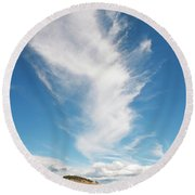 Clouds And Canola Round Beach Towel