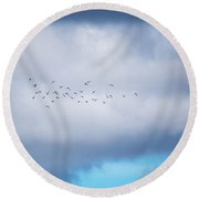 Clouds And Ducks Round Beach Towel