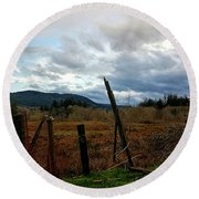 Round Beach Towel featuring the photograph Clouds And Field by Chriss Pagani