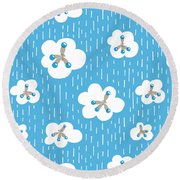 Clouds And Methane Molecules Pattern Round Beach Towel