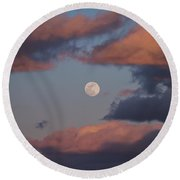 Round Beach Towel featuring the photograph Clouds And Moon March 2017 by Terry DeLuco