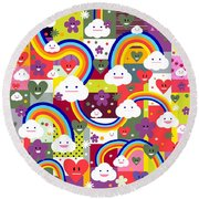 Clouds And Rainbows Round Beach Towel