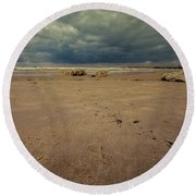 Clouds And Sand Round Beach Towel
