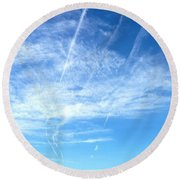 Clouds And Sky Round Beach Towel