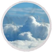 Round Beach Towel featuring the digital art Clouds And Sky M2 by Francesca Mackenney