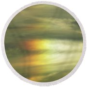 Clouds And Sun Round Beach Towel