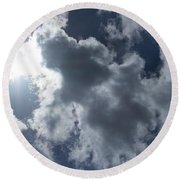 Clouds And Sunlight Round Beach Towel