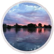 Clouds And Sunset Reflection In Prosser Round Beach Towel