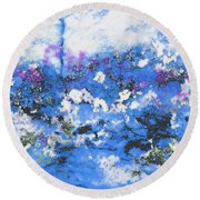 Clouds And Blossom Round Beach Towel