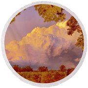 Clouds At Sunset, Southeastern Pennsylvania Round Beach Towel