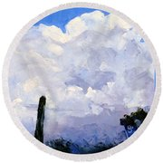 Clouds Building Round Beach Towel