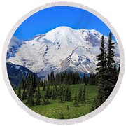 Round Beach Towel featuring the photograph Clouds Clearing At Mount Rainier 2 by Lynn Hopwood