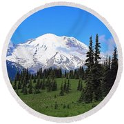 Round Beach Towel featuring the photograph Clouds Clearing At Mount Rainier by Lynn Hopwood
