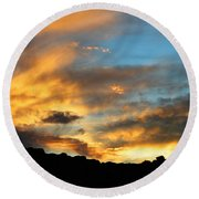 Clouds Of Liquid Gold Round Beach Towel