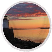 Clouds On Fire Round Beach Towel