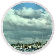 Clouds On The Bay Round Beach Towel by Kim Nelson
