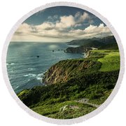 Clouds Over Bixby Bridge Round Beach Towel