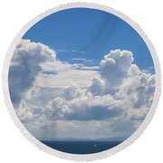 Clouds Over Catalina Island - Panorama Round Beach Towel