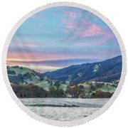Clouds Over Frosty Landscape Round Beach Towel