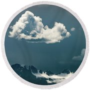 Round Beach Towel featuring the photograph Clouds Over Glacier, Banff Np by William Lee