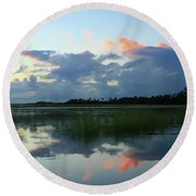Clouds Over Marsh Round Beach Towel