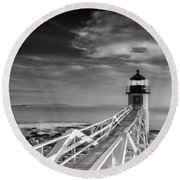 Clouds Over Marshall Point Lighthouse In Maine Round Beach Towel