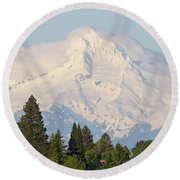 Clouds Over Mount Hood Closeup Round Beach Towel