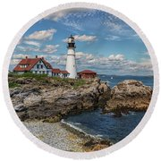 Clouds Over Portland Head Lighthouse Round Beach Towel by Brian MacLean