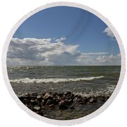 Clouds Over Sea Round Beach Towel